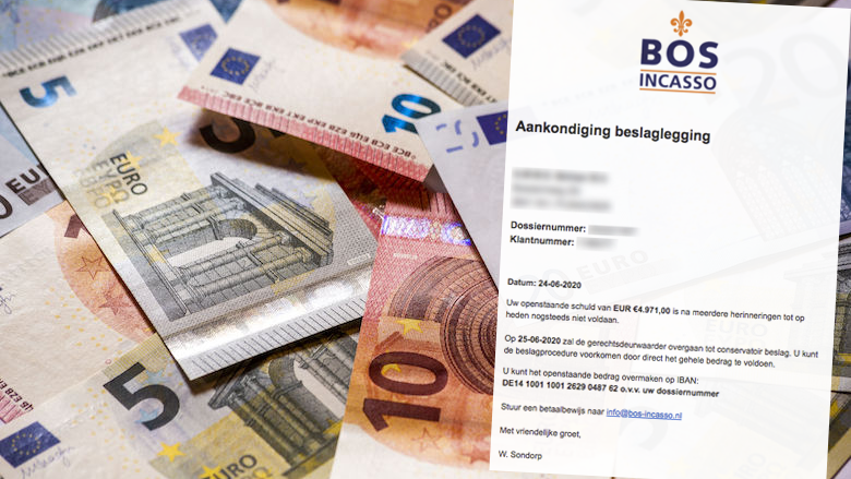 Beslaglegging uit naam van 'Bos Incasso' voor € 4.971,00 is vals