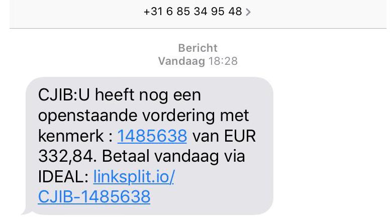 Fraudehelpdesk én CJIB waarschuwen voor valse sms