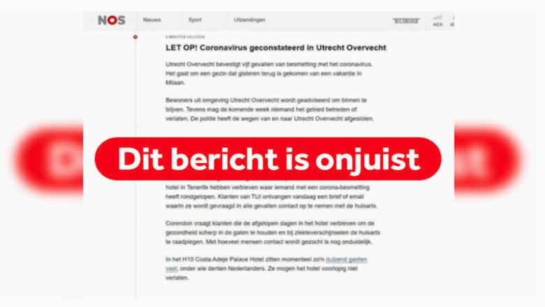 Bericht over besmetting met coronavirus in Utrecht is een hoax