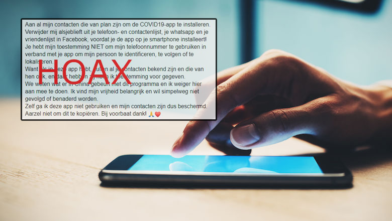 Kettingbericht over CoronaMelder-app over het delen van contacten gaat rond op sociale media: hoe zit dat?