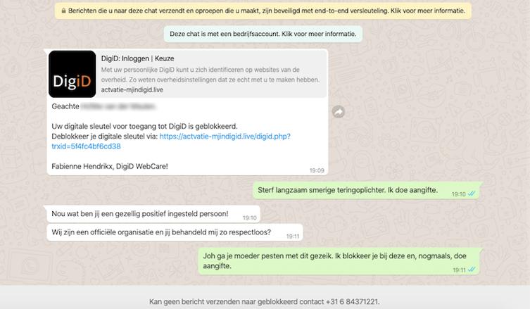 Screenshot van het gesprek met de webcare van 'DigiD'