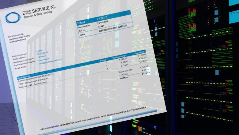 Spookfactuur van DNS Service NL voor webhosting in omloop
