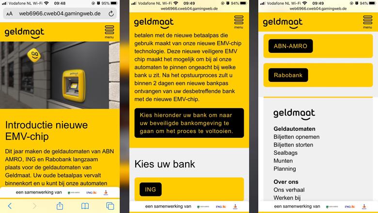 Nagemaakte website van 'Geldmaat'