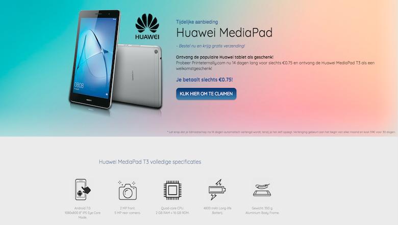Mail over Huawei MediaPad is een misleidende winactie