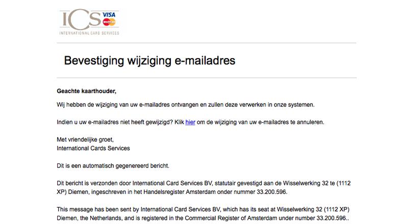 Mail van 'ICS' over gewijzigd mailadres gehad? Gooi maar weg