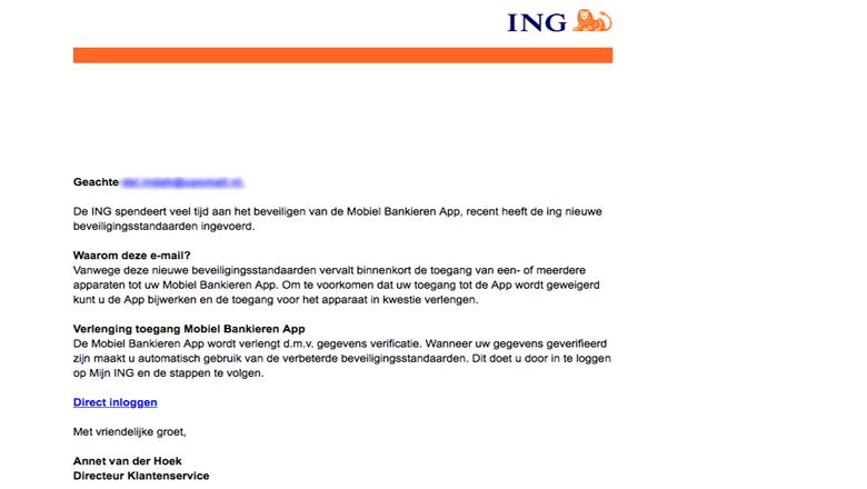 Negeer mail van 'ING' over verificatie van de app