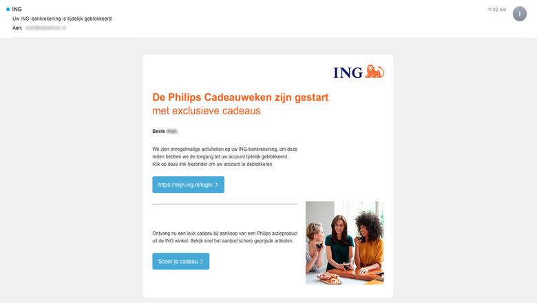 Mail van 'ING' over onregelmatige activiteiten is vals