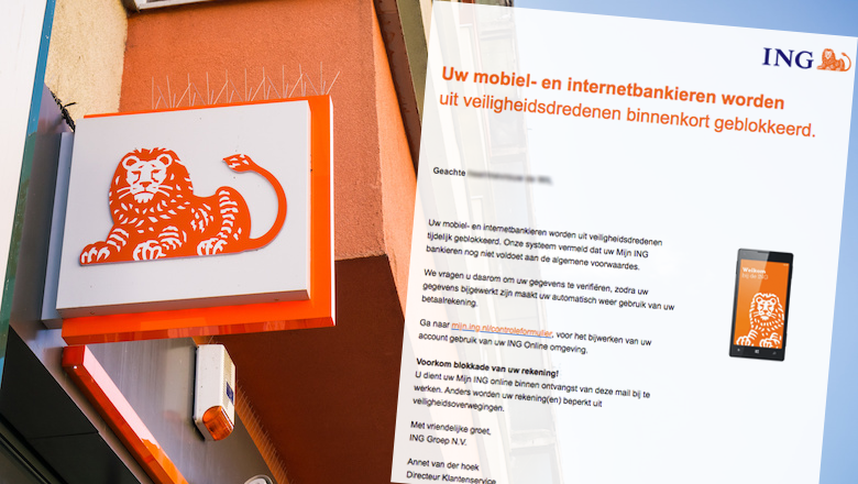 Mail van 'ING' over blokkade rekening is vals