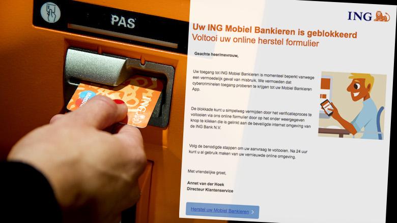 Enorme hoeveelheid phishingmails namens ING: 'Uw ING Mobiel Bankieren is geblokkeerd'