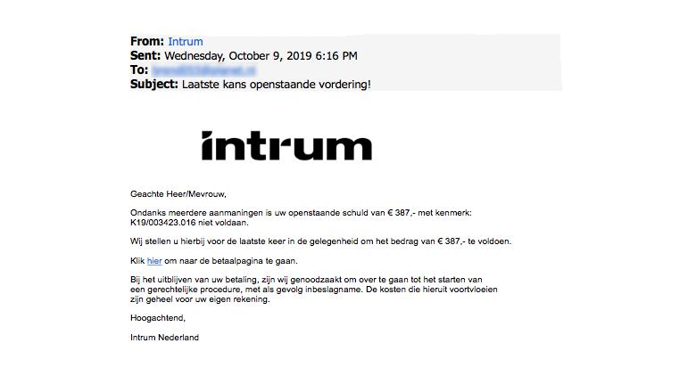 Betaal spookfactuur van 'Intrum' niet