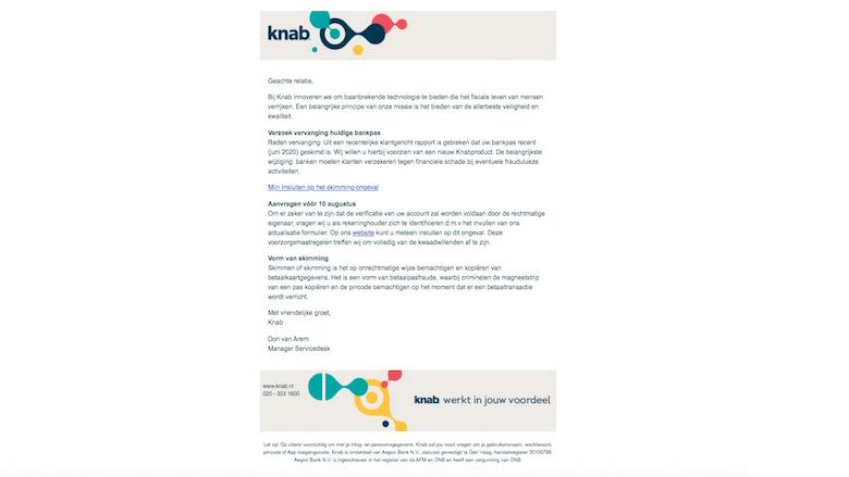 Valse mail 'Knab'