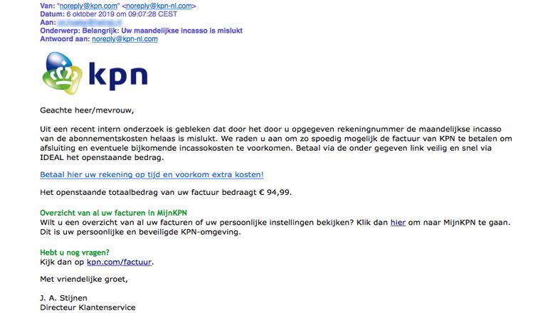 Valse mail van 'KPN' massaal verspreid