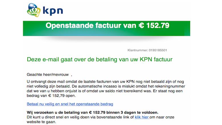 Spookfactuur van € 152,79 in omloop namens 'KPN'