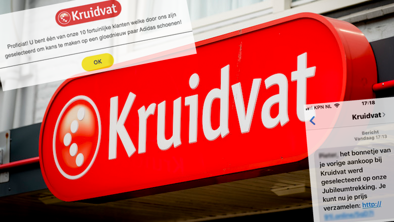 SMS-bericht van 'Kruidvat' over jubileumtrekking is creditcardfraude