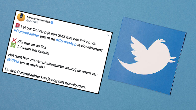 Ministerie van VWZ: 'Ga niet in op sms-berichten om de CoronaMelder te downloaden'