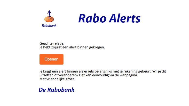Mail van 'Rabobank' over een nieuwe alert is vals
