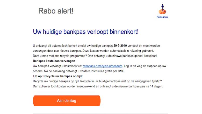 Negeer mail van 'Rabobank' over verlopen pinpas
