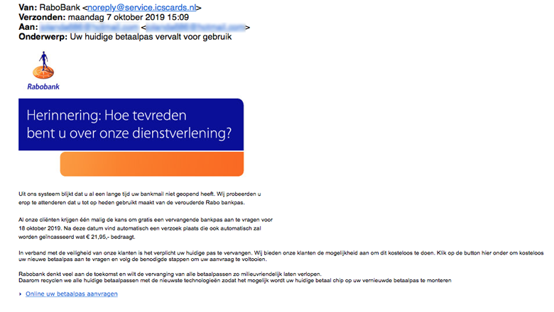 Negeer mail van 'Rabobank' over vervallen betaalpas
