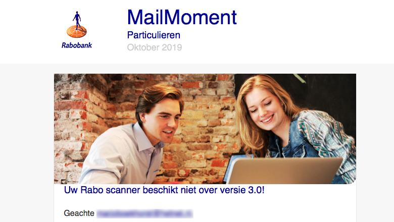 Mail 'Rabobank' over scanner versie 3.0 is niet echt