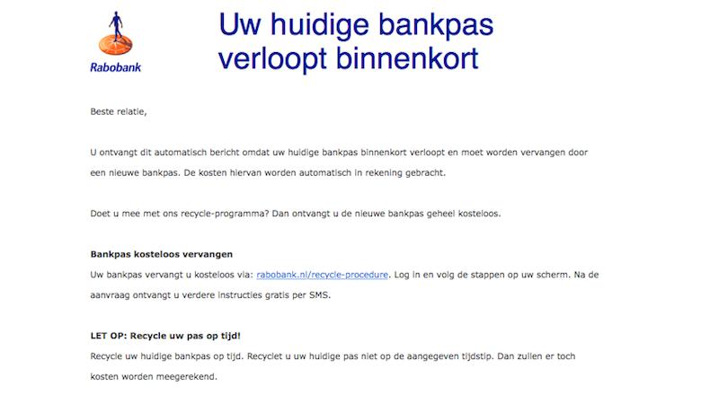 Mail van 'Rabobank' over verlopen bankpas is vals