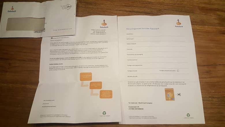 Ook phishing uit naam van de 'Rabobank' met een echte brief