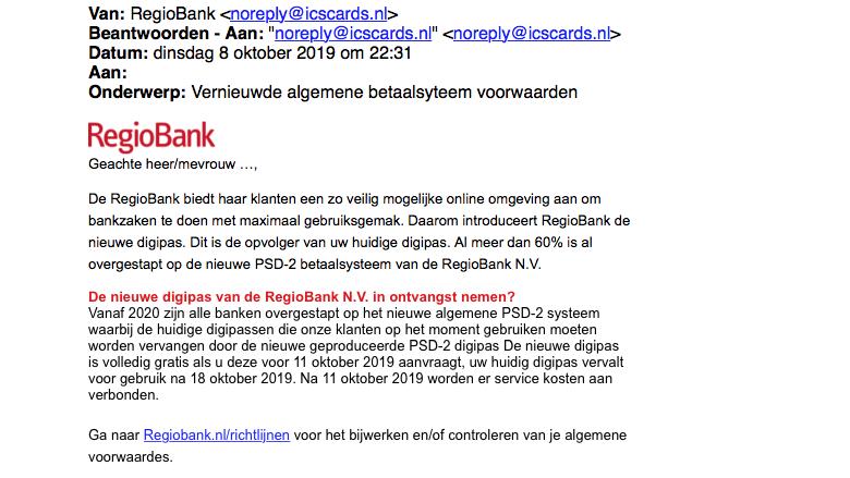 Mail van 'Regiobank' gehad over nieuwe voorwaarden? Die is nep