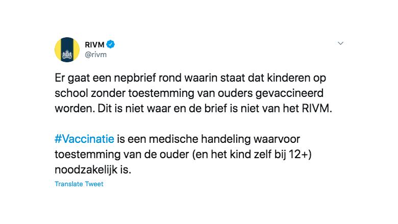 Tweet van het RIVM