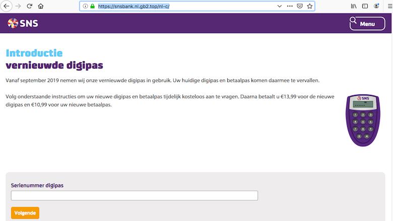 Pinpas opsturen naar 'SNS Bank' in Utrecht-Kanaleneiland? Niet doen!