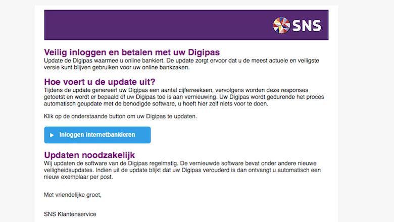 Mail van 'SNS' gekregen over een verouderde digipas? Direct weggooien