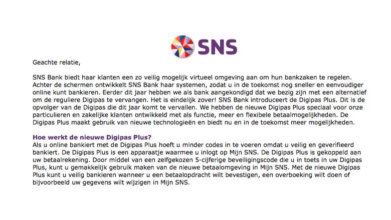 Mail van 'SNS' over 'Digipas Plus' kan de prullenbak in