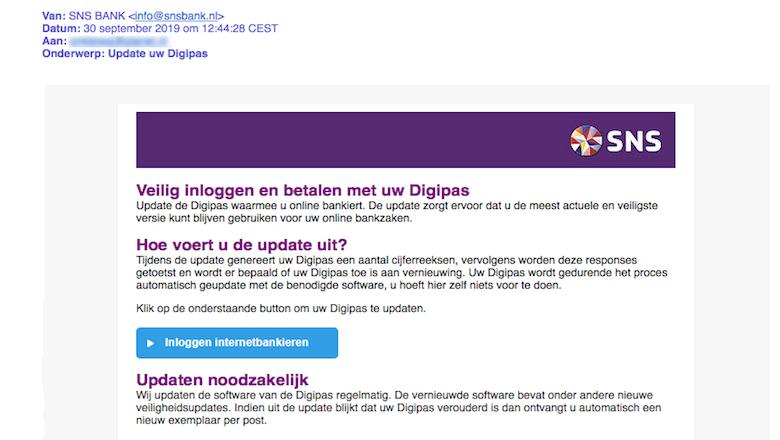 Mail van 'SNS' over update digipas is nep