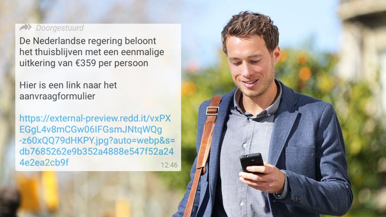 WhatsApp-bericht 'Nederlandse regering beloont thuisblijven met uitkering van € 359' is een hoax