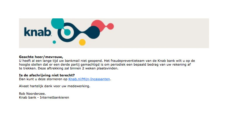Knab e-mail over 'onbekende incassant' is nep