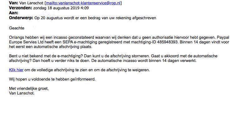 Valse e-mail van 'Van Lanschot' massaal verspreid
