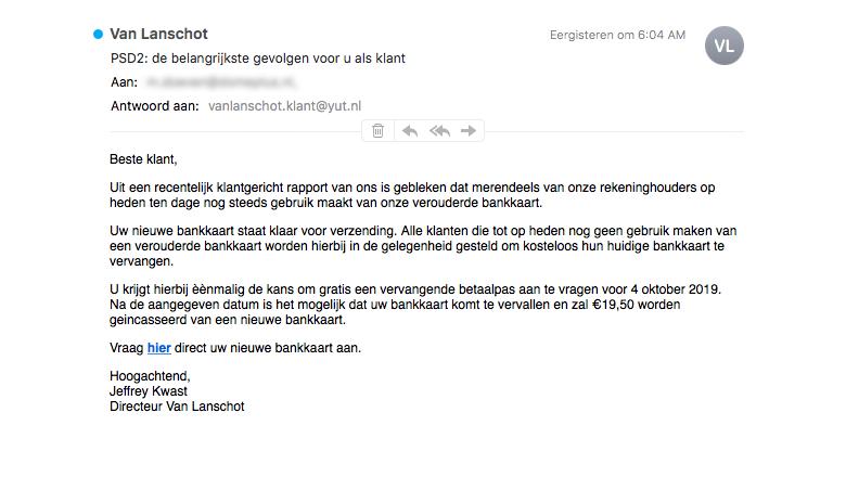 Mail van 'Van Lanschot' over verouderde bankkaart is onzin