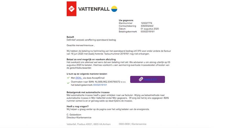 Voorbeeld van de spookfactuur van 'Vattenfall'