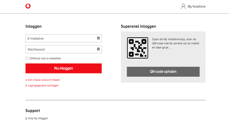 Nagemaakte website van 'Vodafone'