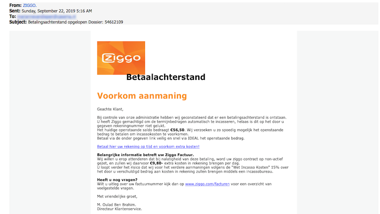 Mail van 'Ziggo' over betalingsachterstand is nep
