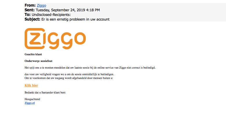 Er is een valse mail van 'Ziggo' in omloop
