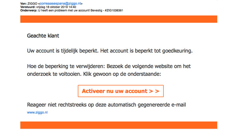 Mail van 'Ziggo' over beperking van je account is vals
