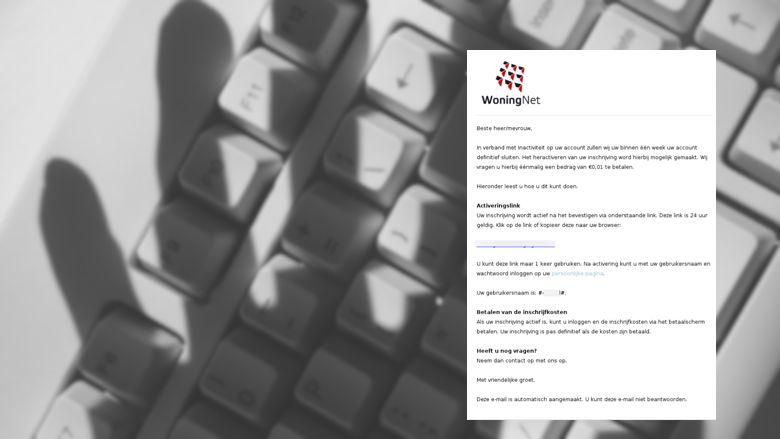 Pas op voor deze nieuwe mail van 'WoningNet', oplichters worden steeds geniepiger