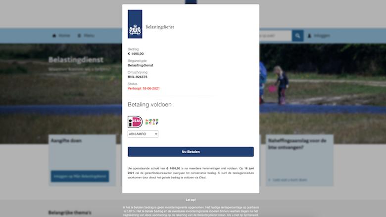 Valse mail met spookfactuur leidt naar levensechte 'Belastingdienst'-nepsite: 'Betaal € 1495,00!'
