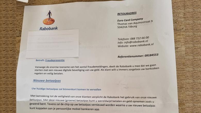 Phishing namens de 'Rabobank', maar dan per échte brief