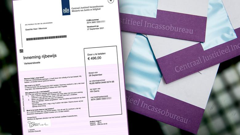 Oplichters sturen valse brieven namens het CJIB: 'Inname rijbewijs en verkeersboete van € 496,00'