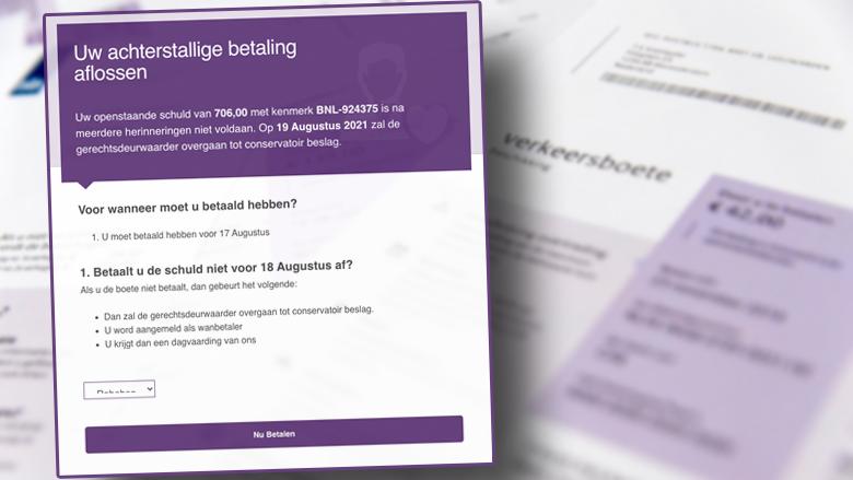 Valse e-mails namens het 'CJIB' in omloop: 'Openstaande schuld van € 750,00 met kenmerk BNL-924375'