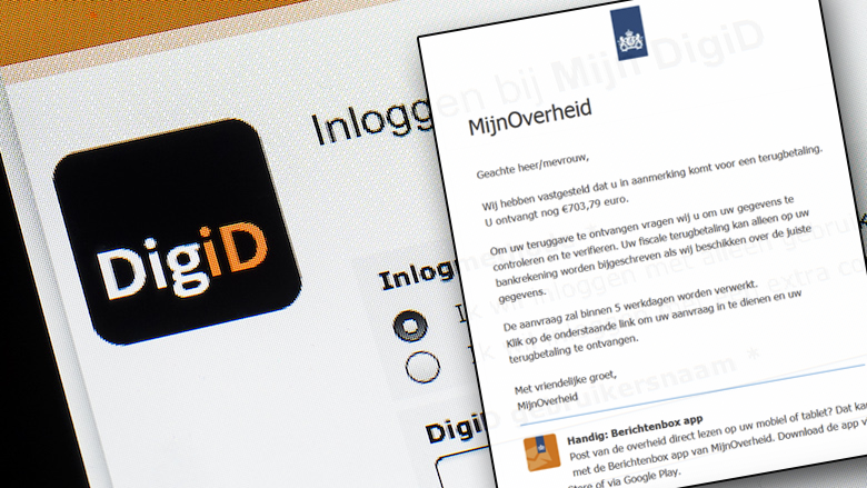 Valse mail namens 'DigiD' is van oplichters: 'U ontvangt nog 703,79 euro'