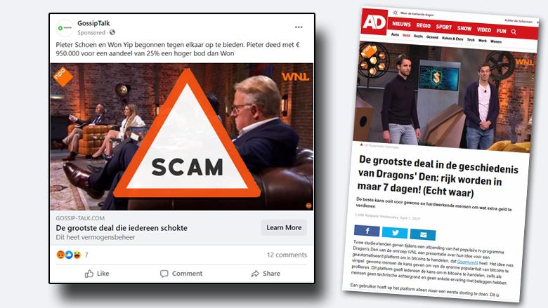 Malafide investeringsbedrijf misbruikt tv-programma Dragons' Den in misleidende advertenties op Facebook