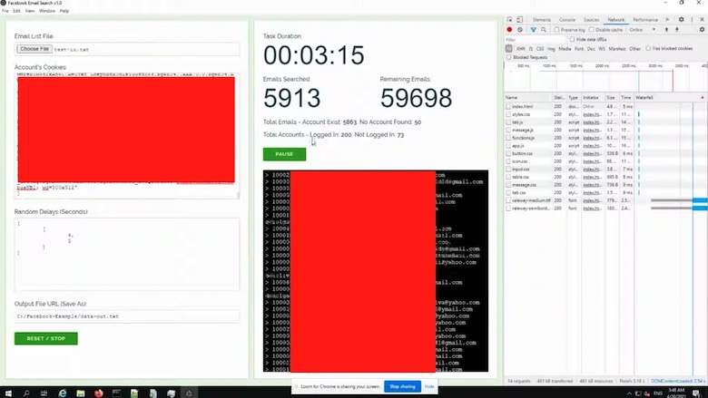Schermafbeeldingen uit de demonstratie van de tool