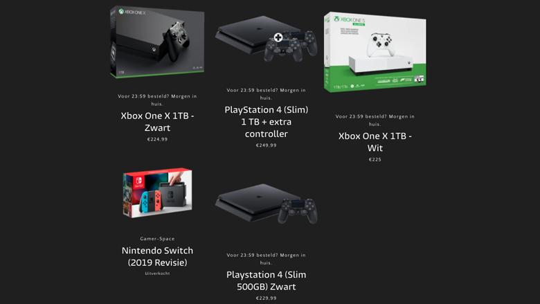Prijzen van een aantal spelcomputers