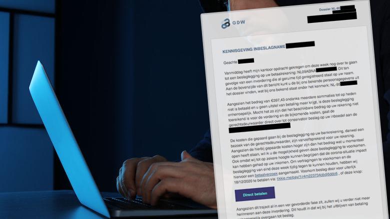 Levensechte spookfactuur van GDW Nederland Gerechtsdeurwaarders bevat talloze persoonlijke gegevens